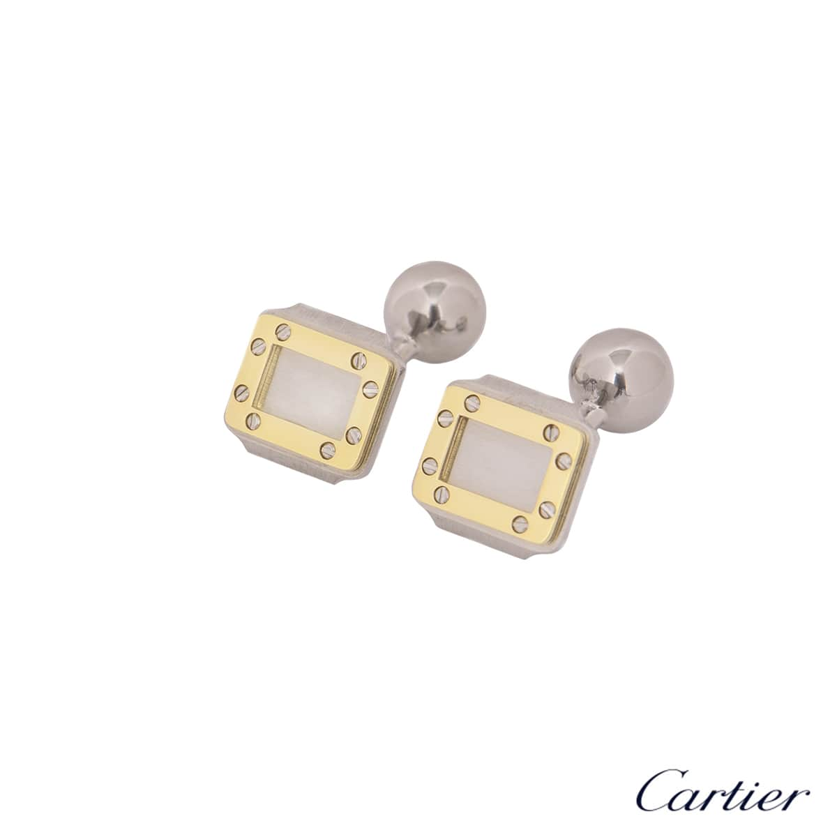 Cartier Steel And Yellow Gold Santos Cufflinks